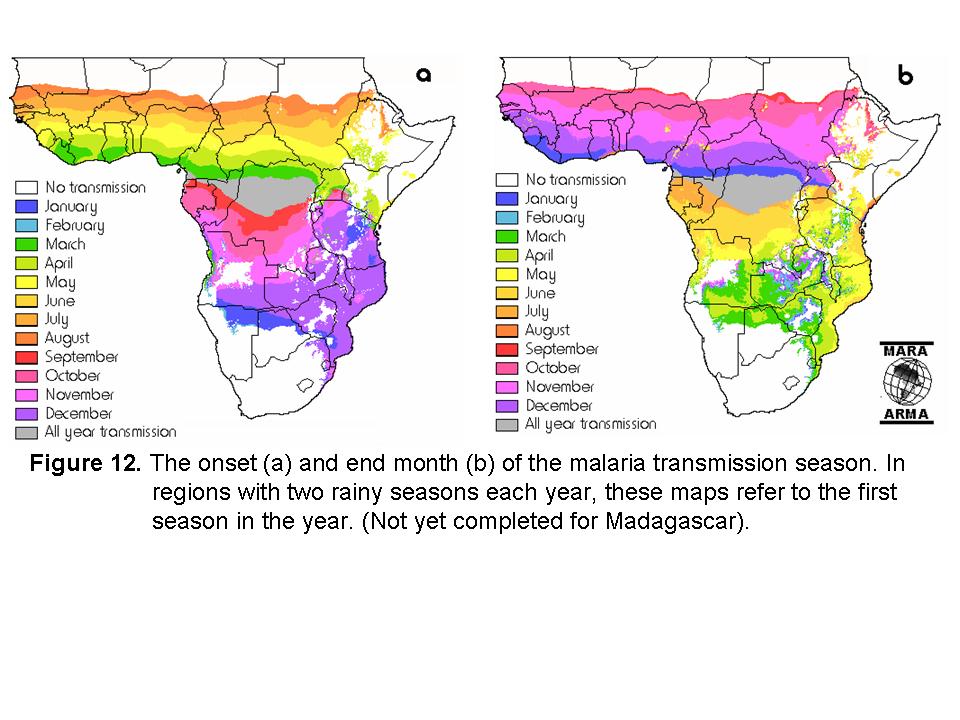 非洲的马拉疟疾传播季节